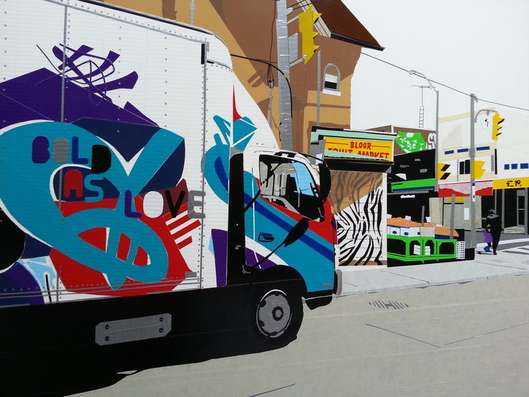 Toronto street scene depicting a truck covered in graffity, made with coloured tape.
